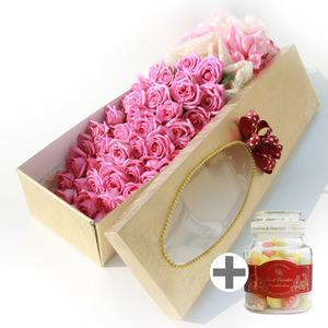 핑크장미(꽃상자)+유리병캔디