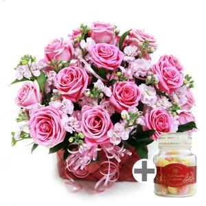 핑크천사(꽃바구니)+유리병캔디